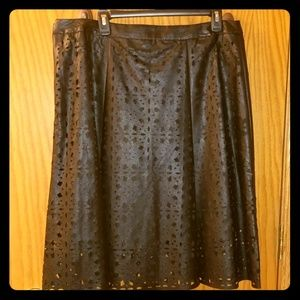 Worthington Laser Cut Leather look skirt